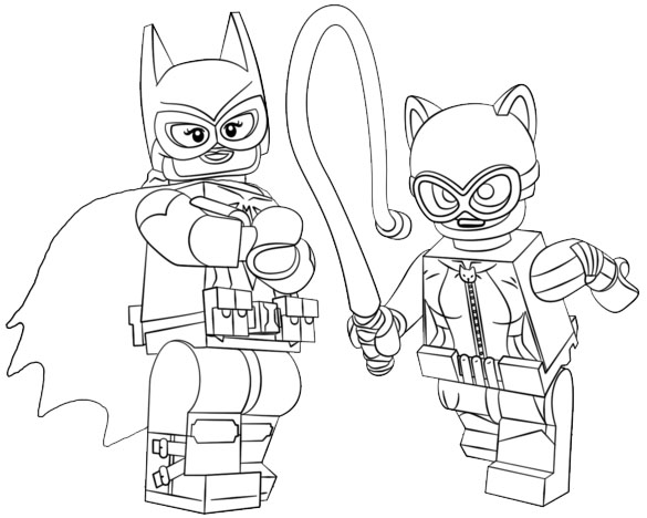 Batgirl and Cat Woman Coloring Page of Lego Supergirl Superhero