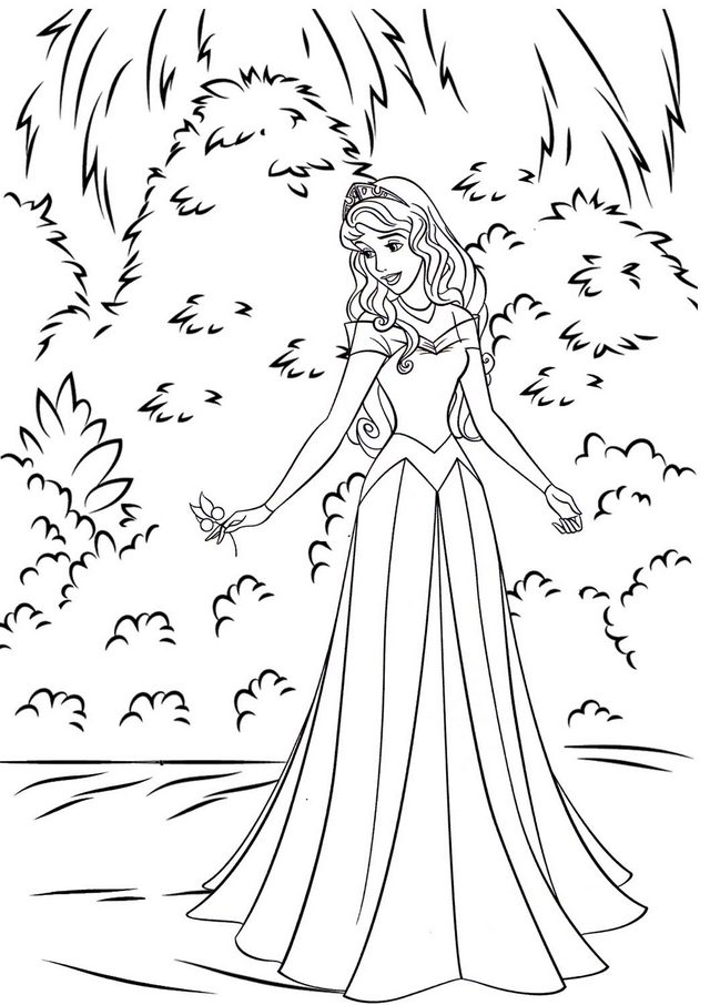 Beautiful Aurora in the Forest Coloring Page