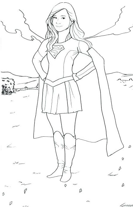 Beautiful Supergirl Coloring Page