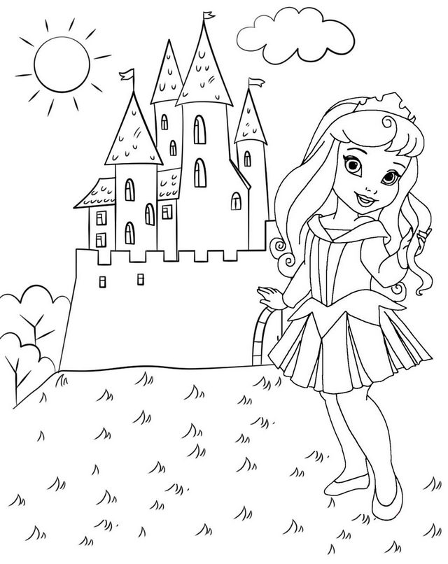 Chibi Princess Aurora and Castle Coloring Page