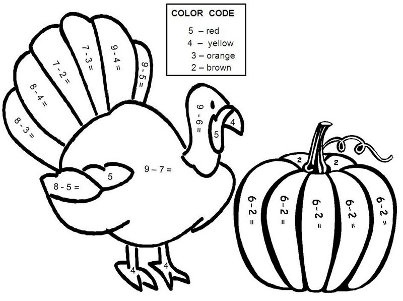 Color By Number Thanksgiving Turkey and Pumpkin