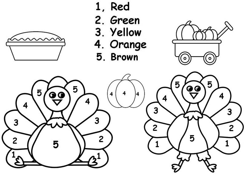 Cute Cartoon Color By Number Thanksgiving