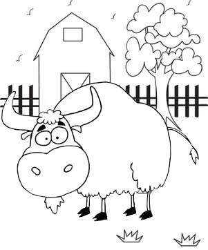 Cute Cartoon Yak Barn Coloring Page