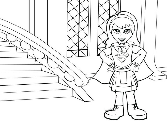Cute Chibi Supergirl Coloring Page