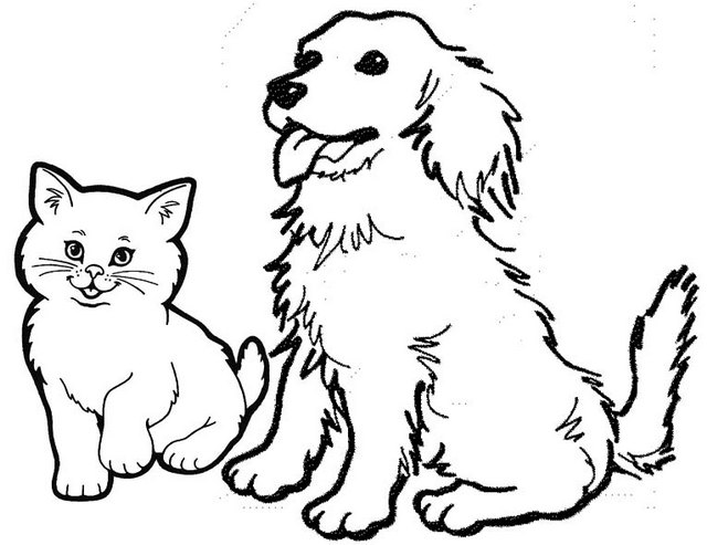 Dog and Cat Awesome Friendship Coloring Page
