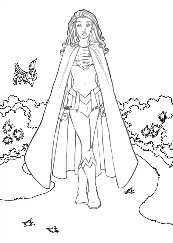 Elegant Supergirl Coloring Page