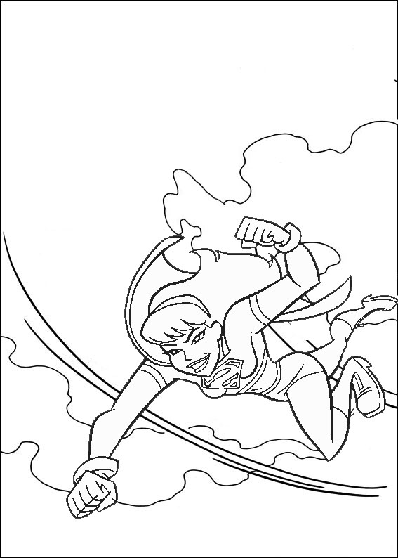 Fight Supergirl Teenager Flying Coloring Page