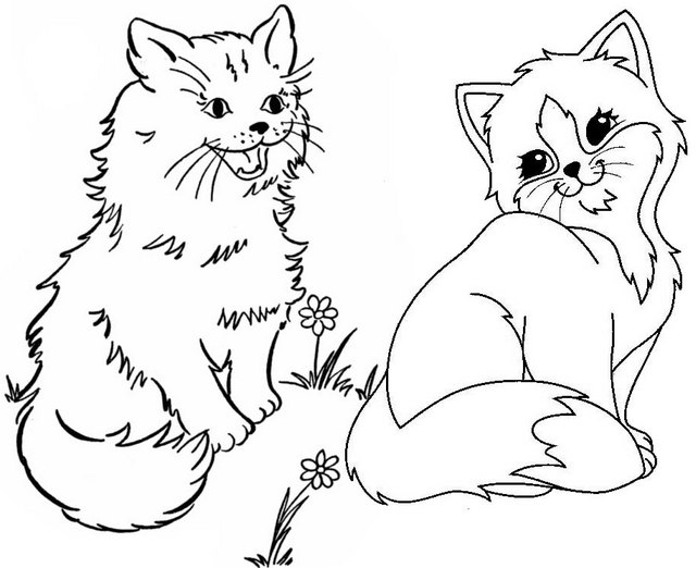 Funny and Pretty Dog and Cat Loving Each Other Coloring Page