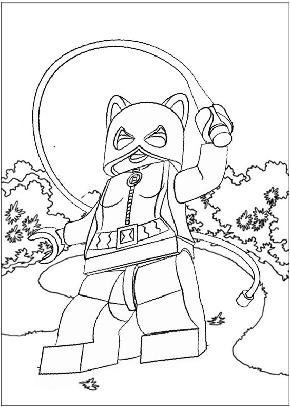 Lego Catwoman All Fight Scene Coloring Page