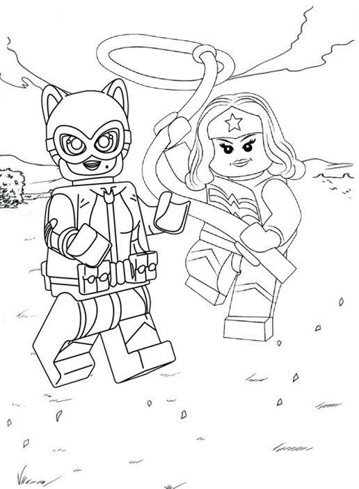 Lego Catwoman and Gal Gadot Supergirl Coloring Page