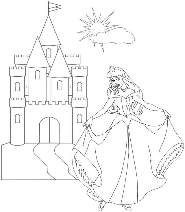 Princess Aurora Castle Background Coloring Page