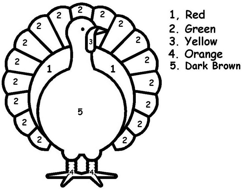 Simple Color By Number Thanksgiving