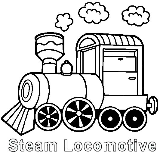 Steam Locomotive Coloring Page