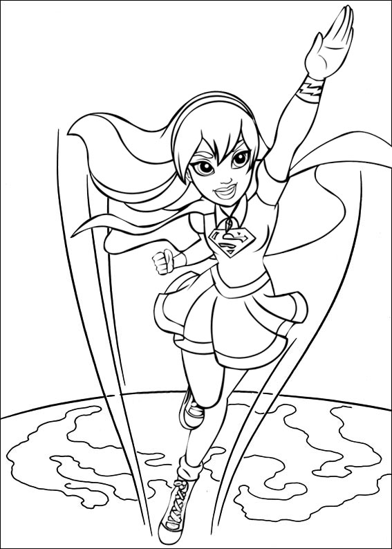 Supergirl Child Over Earth Coloring Page