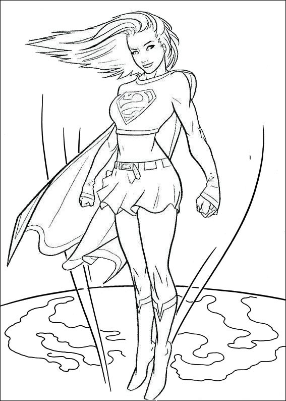 Supergirl Flying Over Earth Coloring Page