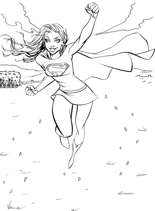 Supergirl Ready To Fly Coloring Page