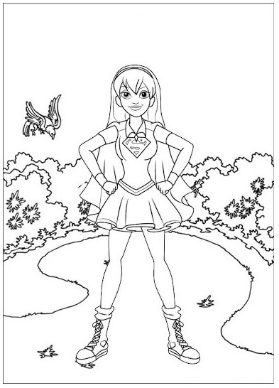 Supergirl child coloring page for girls