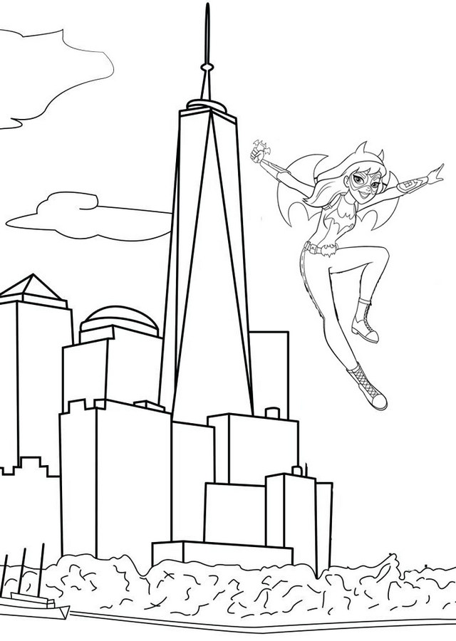 awesome batgirl jumping out of city building coloring page