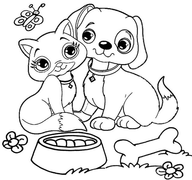cute chibi cat and puppy little dog ready to eat coloring page