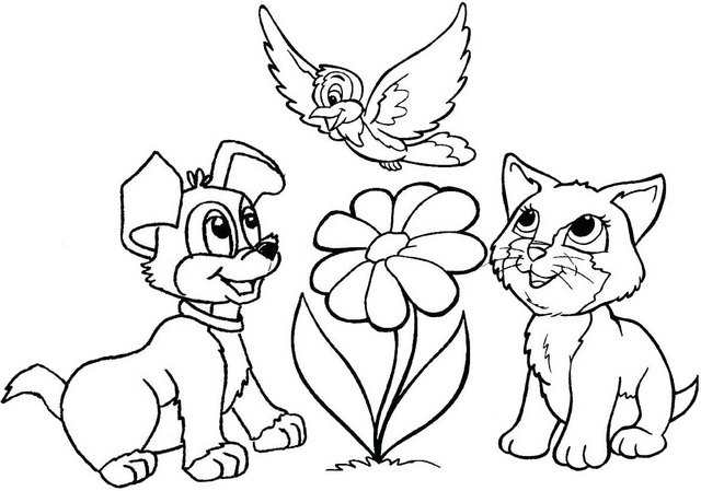 dog and cat playing together cartoon coloring page flower dog cat and bird