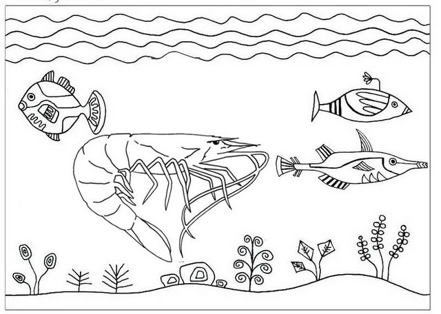 shrimp and fishes swimming coloring page