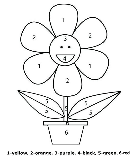 sunflower cartoon color by number worksheet for preschool