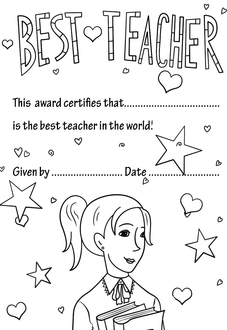 teacher appreciation award coloring page