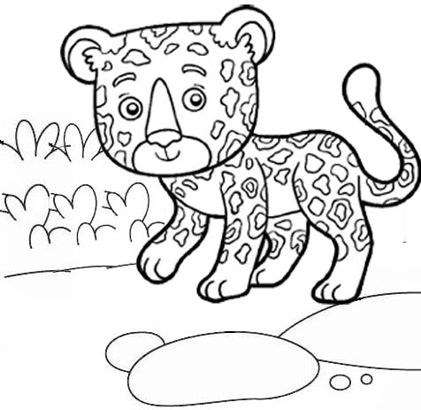 Fun and Cute Baby Jaguar Coloring Page