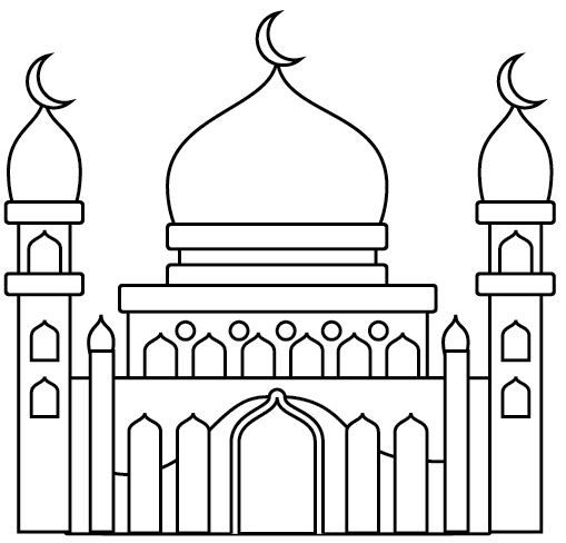 Mosque Building Design Coloring Page