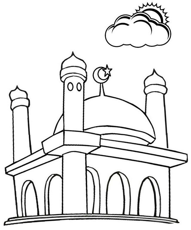 Mosque Cartoon Coloring Page