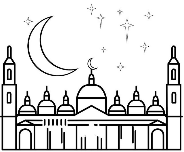 Mosque Islamic Architecture Coloring Page