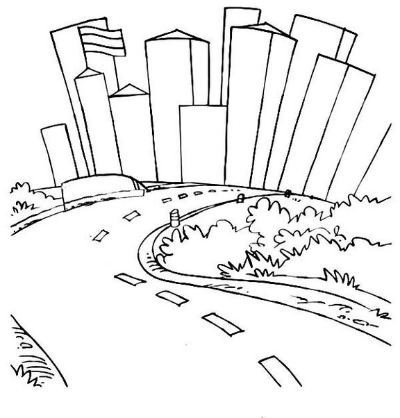 Road in the middle of city coloring page