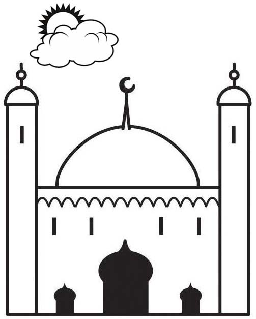 Simple Mosque Coloring Page
