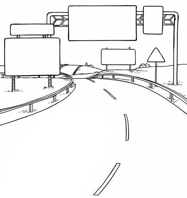 highway road coloring page