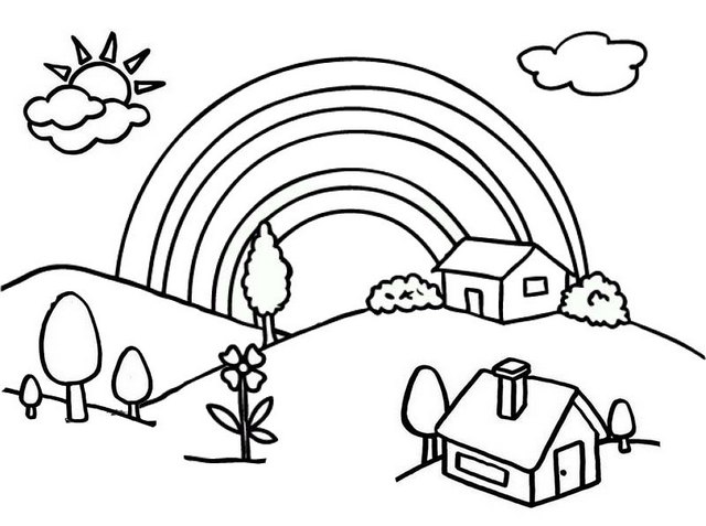 Beautiful Village Cartoon Coloring Page