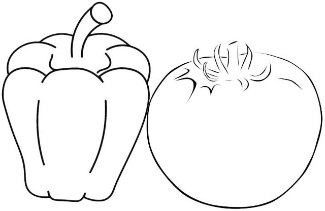 Best Bell Pepper and Tomato Coloring Page of Vegetables