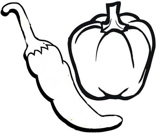 Chili and Bell Pepper Coloring Page