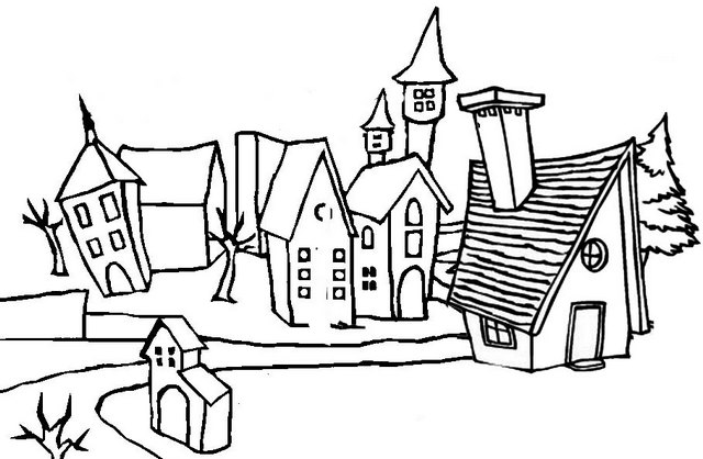 Crowded Village Coloring Page