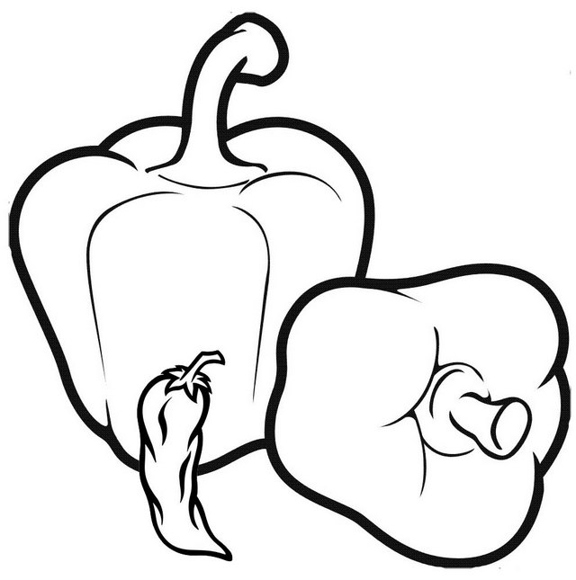 Organic Bell Pepper and Chili Coloring Page for Children