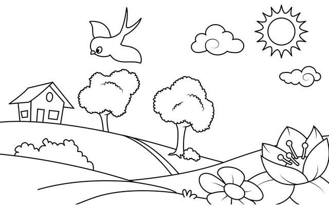 Peace Village Coloring Page