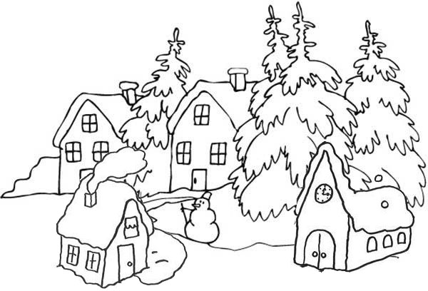 Peaceful and Beautiful Winter Village Coloring Page