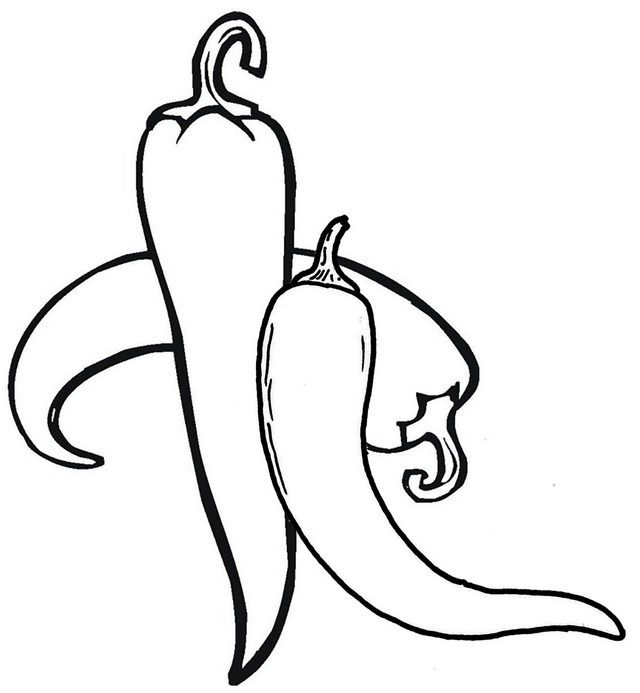 Top Types of Chili Pepper Coloring Page