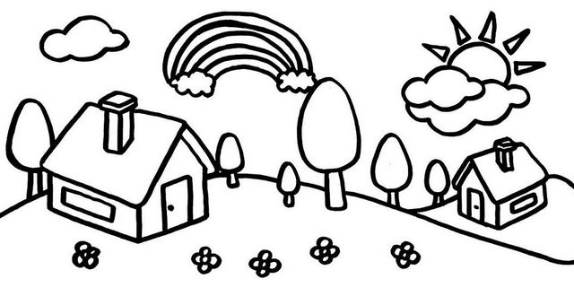 Village Cartoon Coloring Page