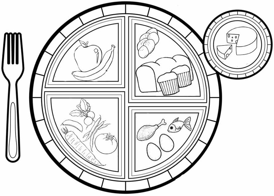Best Myplate Coloring Page Fruits Vegetables Protein Grains and Dairy
