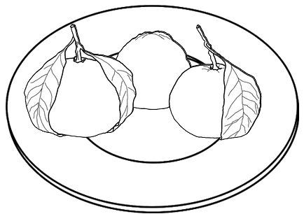 Orange Fruit on the plate Coloring Page