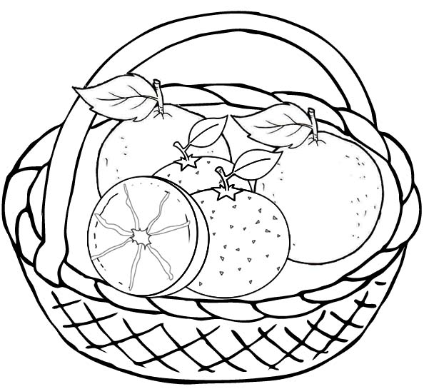 Orange Fruits in the basket Coloring Page