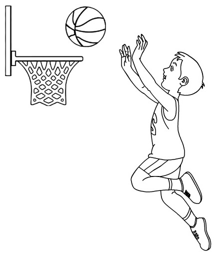happy basketball coloring page kids learning various sports