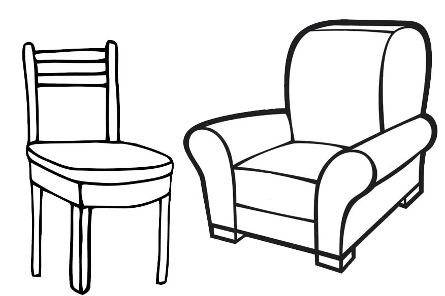 Awesome Comfartable Chair and Sofa Coloring Page